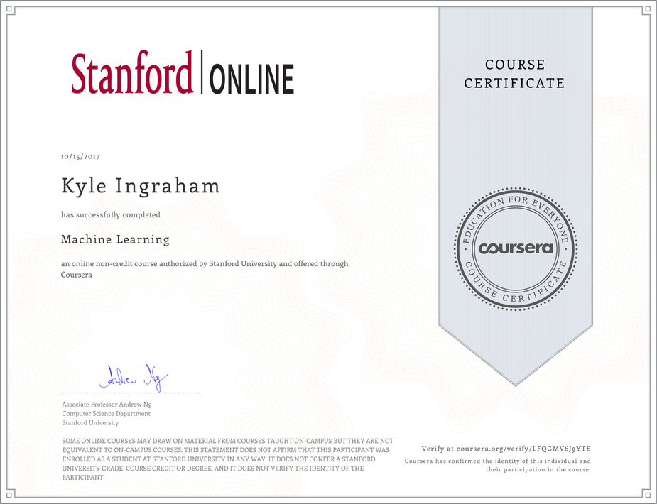 Completed Machine Learning by Stanford University Course on Coursera